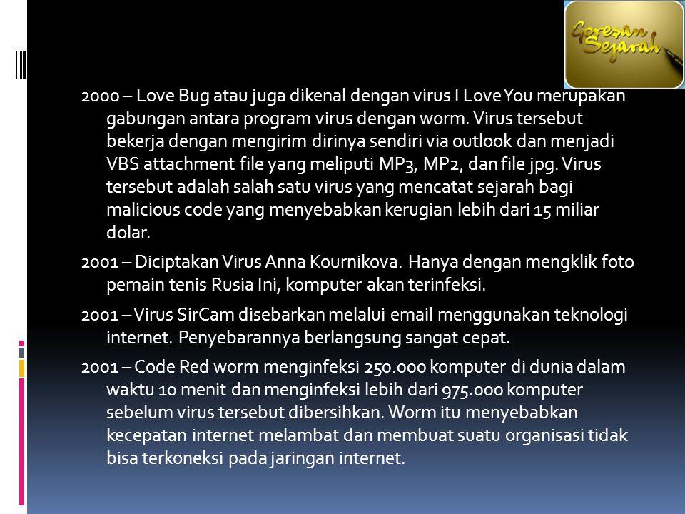 2000 – Love Bug atau juga dikenal dengan virus I Love You merupakan gabungan antara program virus dengan worm. Virus tersebut bekerja dengan mengirim