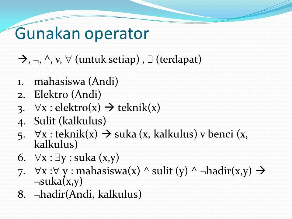 Gunakan operator , ¬, ^, v,  (untuk setiap),  (terdapat) 1.mahasiswa (Andi) 2.Elektro (Andi) 3.  x : elektro(x)  teknik(x) 4.Sulit (kalkulus) 5.