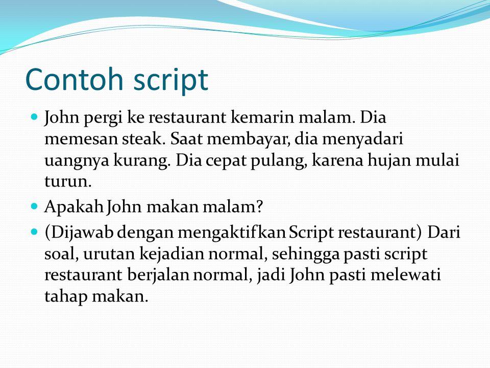 Contoh script John pergi ke restaurant kemarin malam.