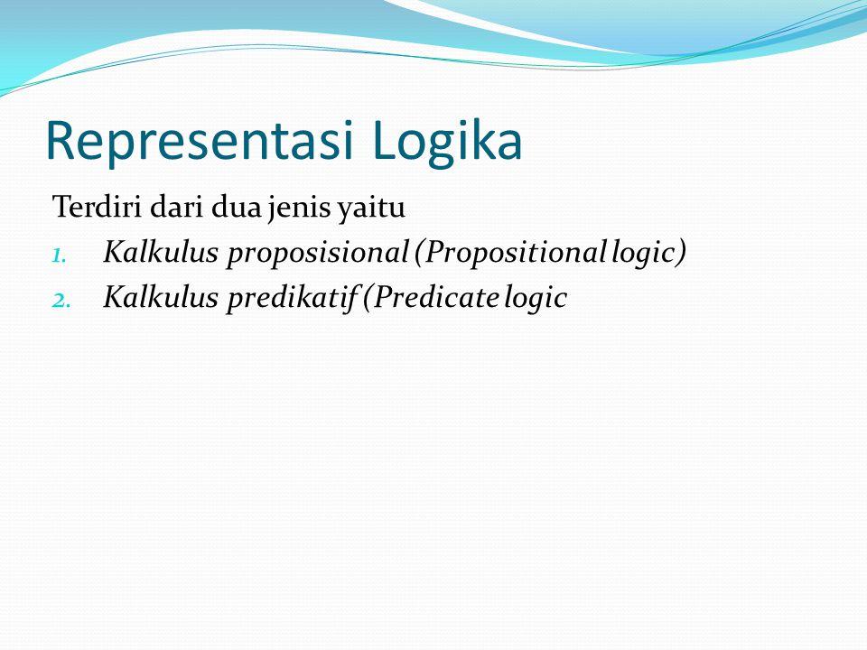 Representasi Logika Terdiri dari dua jenis yaitu 1. Kalkulus proposisional (Propositional logic) 2. Kalkulus predikatif (Predicate logic