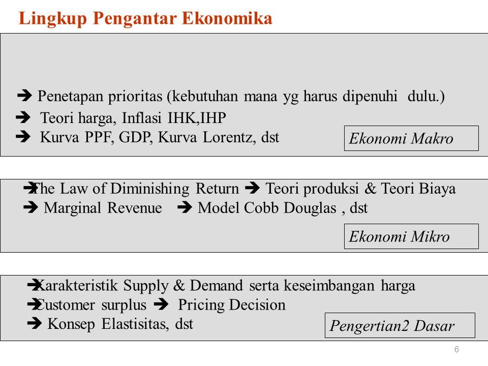 EKONOMI MAKRO 7 Mempelajari fungsi ekonomi secara keseluruhan : - National Income - National Output - Inflasi - Tingkat Pengangguran - Jumlah uang beredar - Mengapa perekonomian suatu negara tertentu berkembang pesat sementara perekonomian negara lain stagnan EKONOMI MIKRO Mempelajari perilaku komponen2 individu perekonomian ( Industri, Perusahaan, Rumahtangga; Permintaan Pasar; Supply Komoditi ; Faktor2 Prodiuksi ; dst.