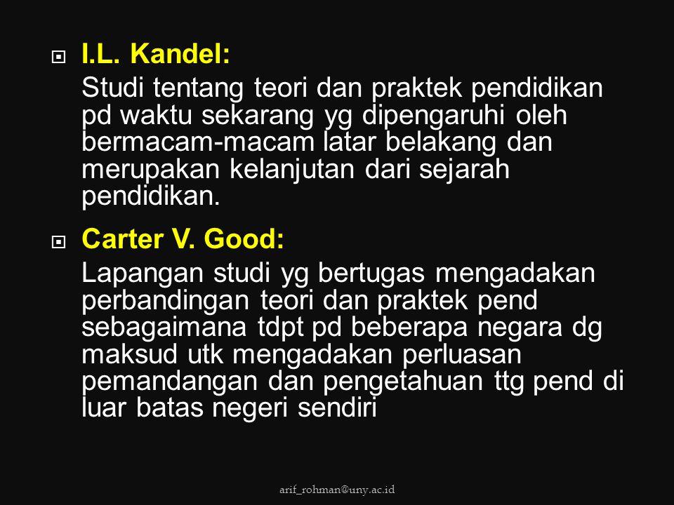 I.L. Kandel: Studi tentang teori dan praktek pendidikan pd waktu sekarang yg dipengaruhi oleh bermacam-macam latar belakang dan merupakan kelanjutan