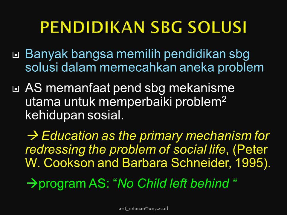  Banyak bangsa memilih pendidikan sbg solusi dalam memecahkan aneka problem  AS memanfaat pend sbg mekanisme utama untuk memperbaiki problem 2 kehid