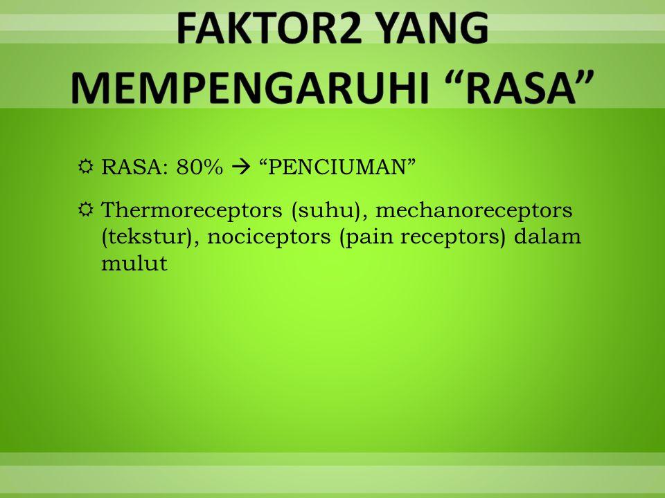  RASA: 80%  PENCIUMAN  Thermoreceptors (suhu), mechanoreceptors (tekstur), nociceptors (pain receptors) dalam mulut