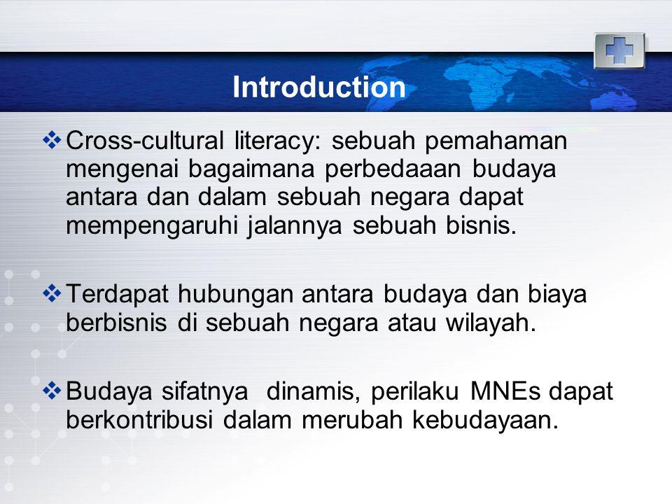 Introduction  Cross-cultural literacy: sebuah pemahaman mengenai bagaimana perbedaaan budaya antara dan dalam sebuah negara dapat mempengaruhi jalannya sebuah bisnis.
