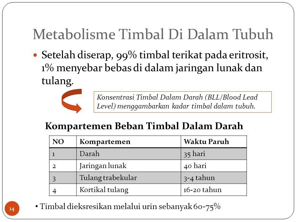 Metabolisme Timbal Di Dalam Tubuh Setelah diserap, 99% timbal terikat pada eritrosit, 1% menyebar bebas di dalam jaringan lunak dan tulang.