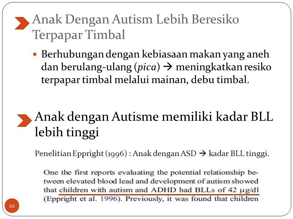 Anak Dengan Autism Lebih Beresiko Terpapar Timbal Berhubungan dengan kebiasaan makan yang aneh dan berulang-ulang (pica)  meningkatkan resiko terpapar timbal melalui mainan, debu timbal.