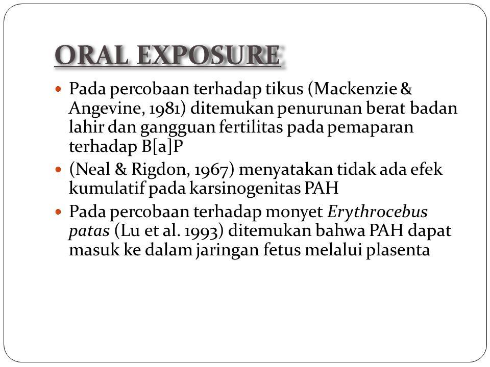 Pada percobaan terhadap tikus (Mackenzie & Angevine, 1981) ditemukan penurunan berat badan lahir dan gangguan fertilitas pada pemaparan terhadap B[a]P (Neal & Rigdon, 1967) menyatakan tidak ada efek kumulatif pada karsinogenitas PAH Pada percobaan terhadap monyet Erythrocebus patas (Lu et al.