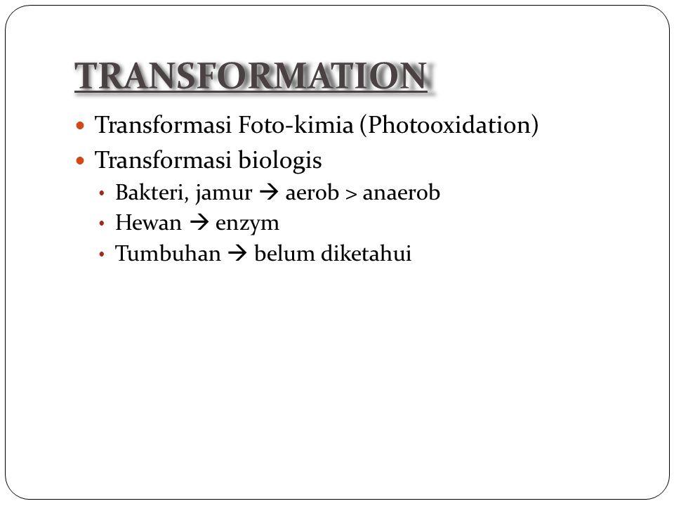 Transformasi Foto-kimia (Photooxidation) Transformasi biologis Bakteri, jamur  aerob > anaerob Hewan  enzym Tumbuhan  belum diketahui TRANSFORMATION