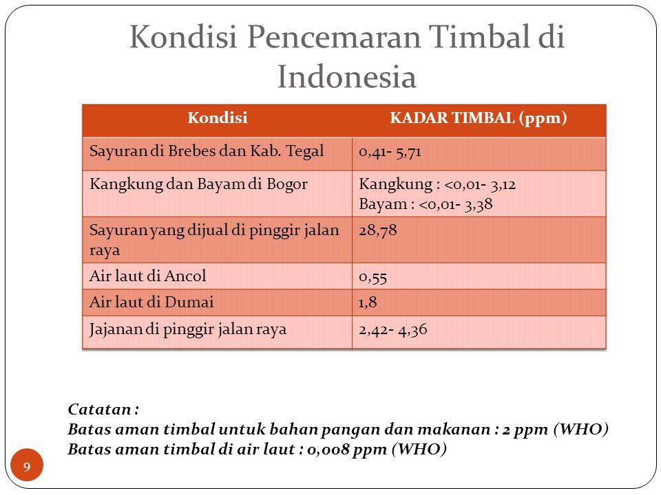 Kondisi Pencemaran Timbal di Indonesia Catatan : Batas aman timbal untuk bahan pangan dan makanan : 2 ppm (WHO) Batas aman timbal di air laut : 0,008 ppm (WHO) 9