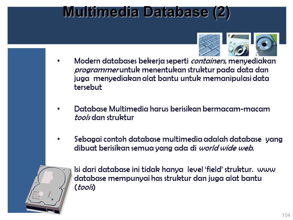 Multimedia Database (2) Modern databases bekerja seperti containers, menyediakan programmer untuk menentukan struktur pada data dan juga menyediakan a