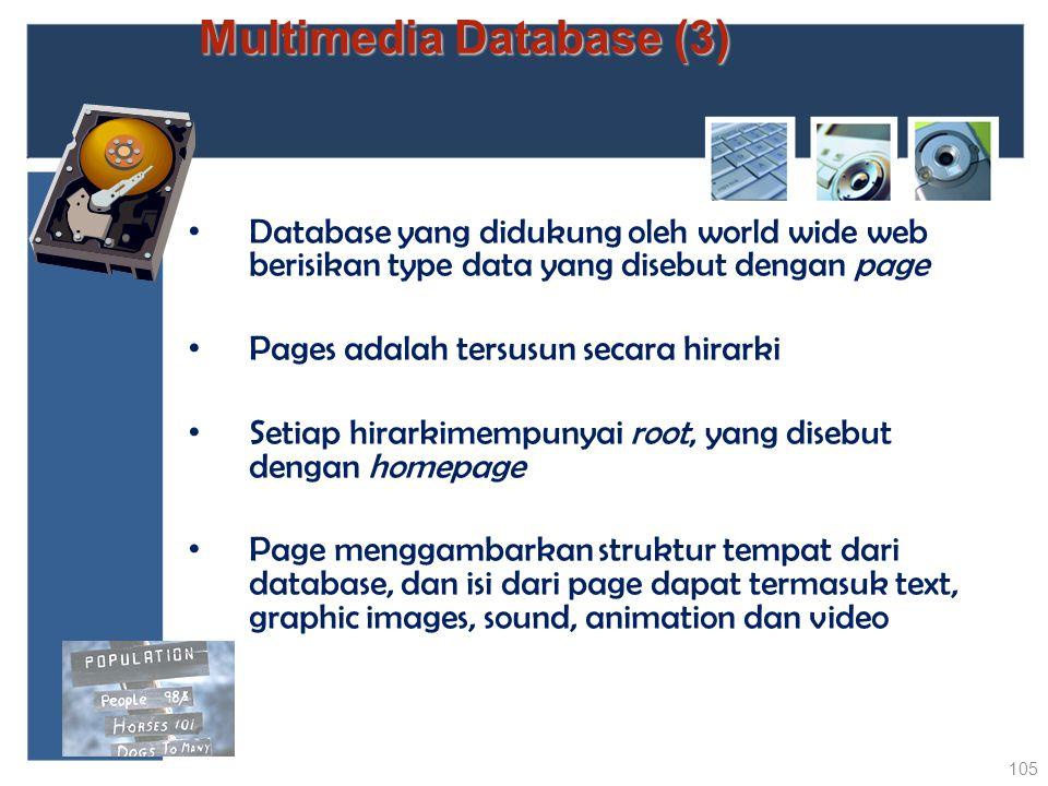 Multimedia Database (3) Database yang didukung oleh world wide web berisikan type data yang disebut dengan page Pages adalah tersusun secara hirarki S