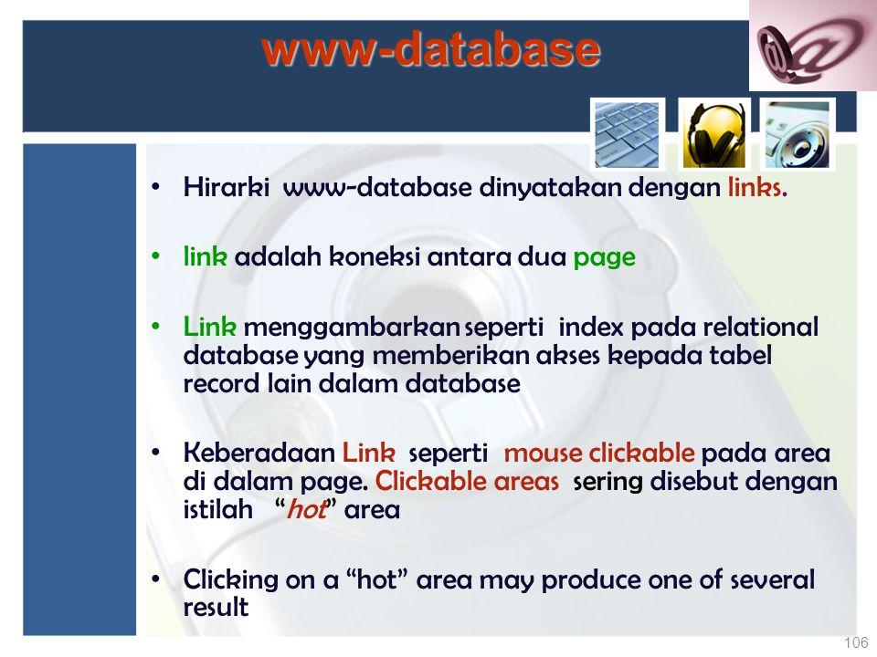 www-database Hirarki www-database dinyatakan dengan links. link adalah koneksi antara dua page Link menggambarkan seperti index pada relational databa