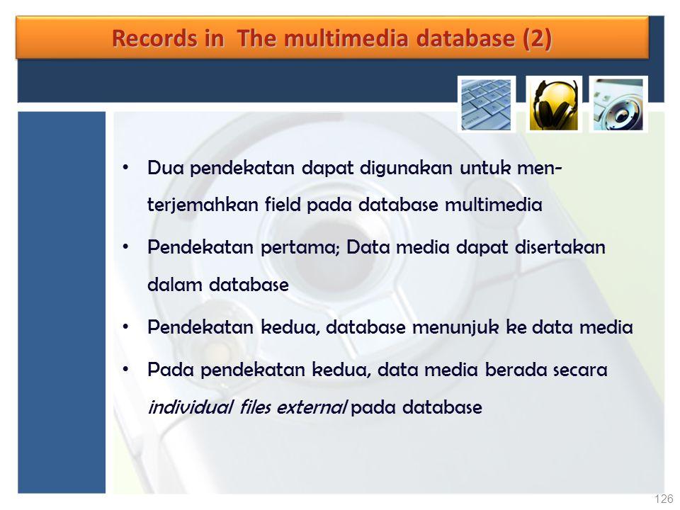 Records in The multimedia database (2) Dua pendekatan dapat digunakan untuk men- terjemahkan field pada database multimedia Pendekatan pertama; Data m