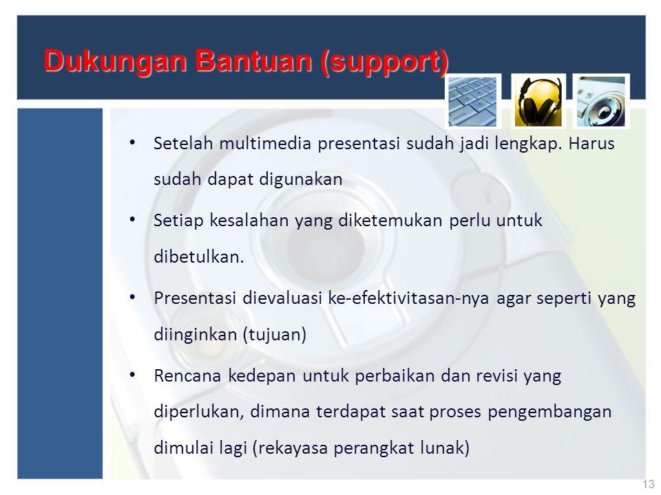 Dukungan Bantuan (support) Setelah multimedia presentasi sudah jadi lengkap. Harus sudah dapat digunakan Setiap kesalahan yang diketemukan perlu untuk