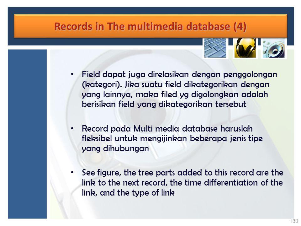Records in The multimedia database (4) Field dapat juga direlasikan dengan penggolongan (kategori). Jika suatu field dikategorikan dengan yang lainnya