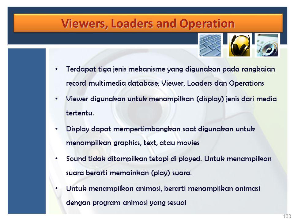 Viewers, Loaders and Operation Terdapat tiga jenis mekanisme yang digunakan pada rangkaian record multimedia database; Viewer, Loaders dan Operations