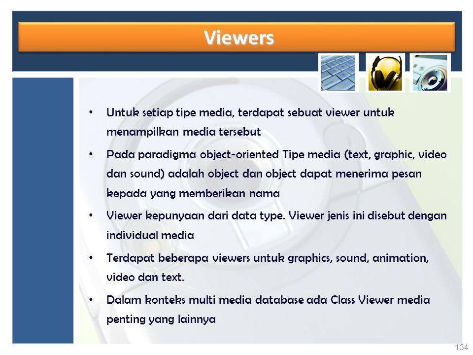 Viewers Viewers Untuk setiap tipe media, terdapat sebuat viewer untuk menampilkan media tersebut Pada paradigma object-oriented Tipe media (text, grap