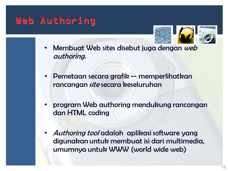 Web Authoring Membuat Web sites disebut juga dengan web authoring. Pemetaan secara grafik -- memperlihatkan rancangan site secara keseluruhan program