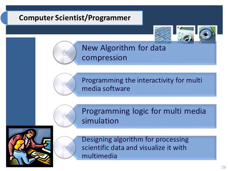 New Algorithm for data compression Programming the interactivity for multi media software Programming logic for multi media simulation Designing algor