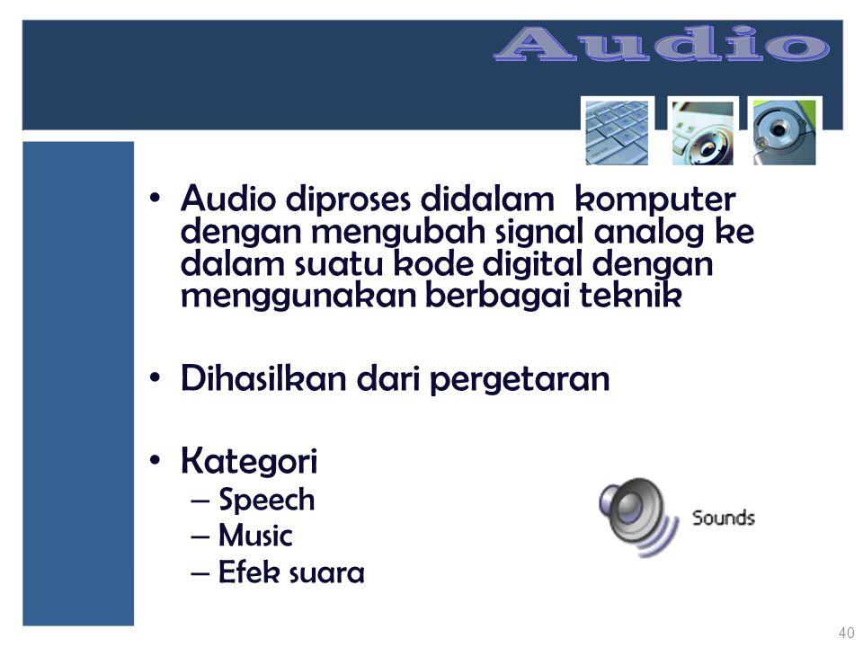 Audio diproses didalam komputer dengan mengubah signal analog ke dalam suatu kode digital dengan menggunakan berbagai teknik Dihasilkan dari pergetara