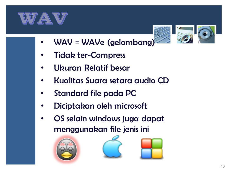 WAV = WAVe (gelombang) Tidak ter-Compress Ukuran Relatif besar Kualitas Suara setara audio CD Standard file pada PC Diciptakan oleh microsoft OS selai