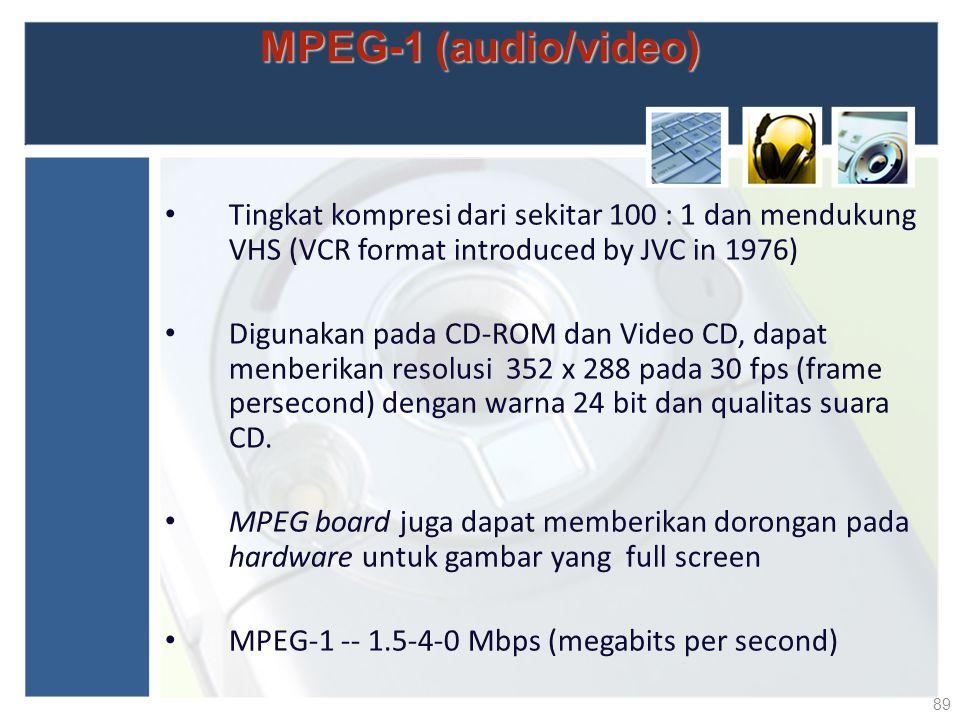 MPEG-1 (audio/video) Tingkat kompresi dari sekitar 100 : 1 dan mendukung VHS (VCR format introduced by JVC in 1976) Digunakan pada CD-ROM dan Video CD