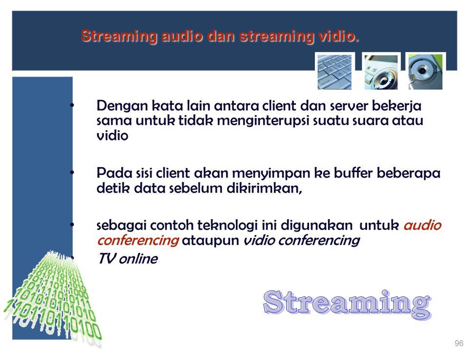 Dengan kata lain antara client dan server bekerja sama untuk tidak menginterupsi suatu suara atau vidio Pada sisi client akan menyimpan ke buffer bebe