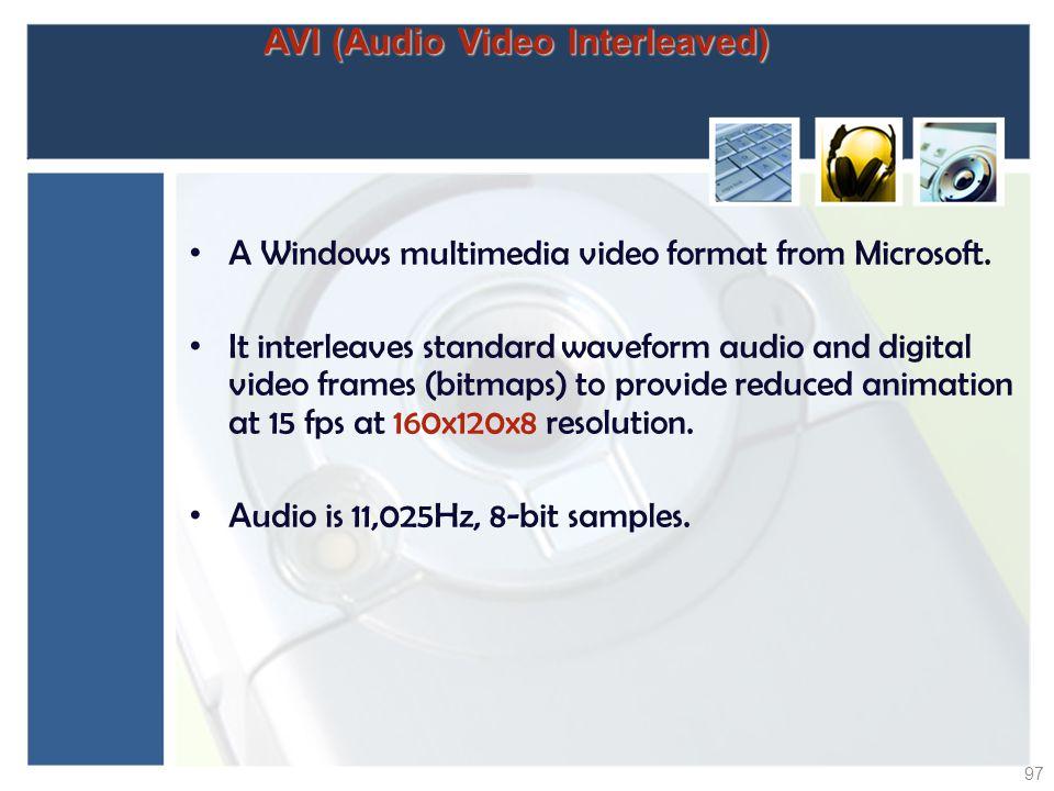 AVI (Audio Video Interleaved) A Windows multimedia video format from Microsoft. It interleaves standard waveform audio and digital video frames (bitma
