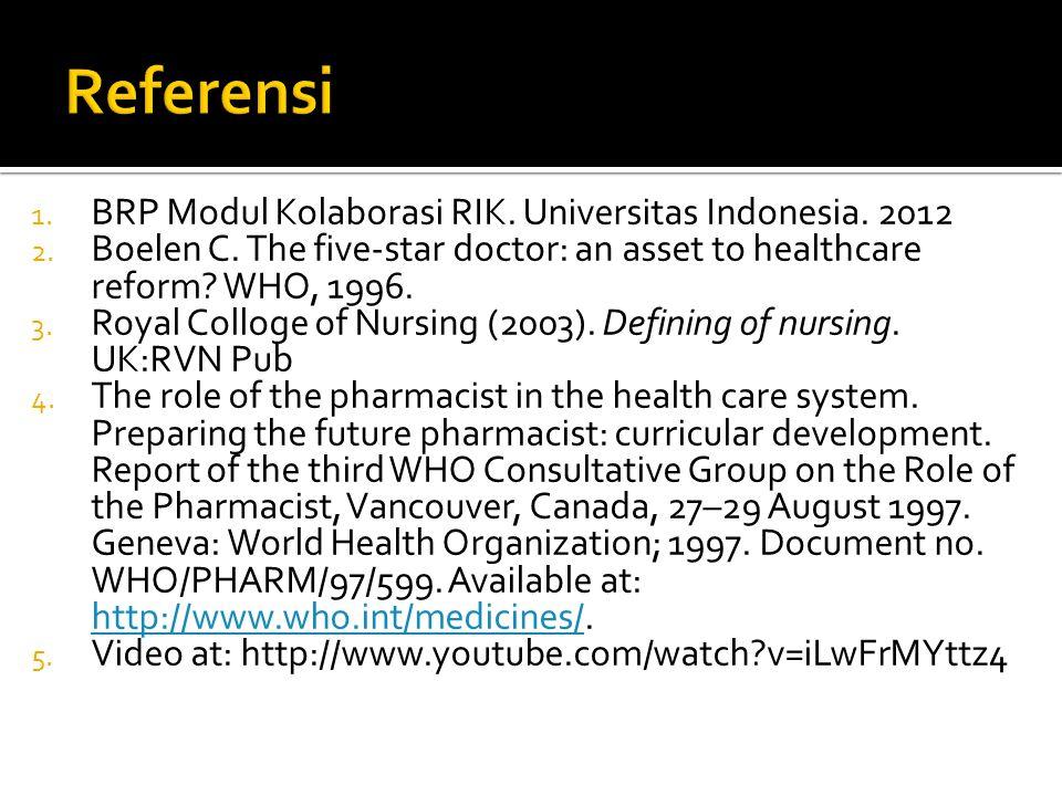 1. BRP Modul Kolaborasi RIK. Universitas Indonesia. 2012 2. Boelen C. The five-star doctor: an asset to healthcare reform? WHO, 1996. 3. Royal Colloge