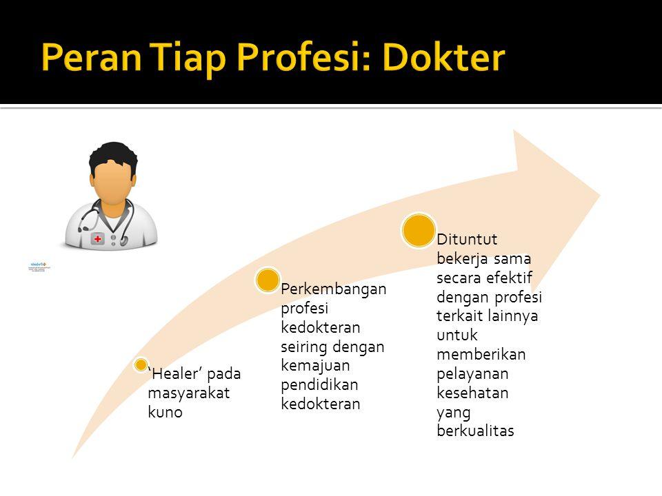 'Healer' pada masyarakat kuno Perkembangan profesi kedokteran seiring dengan kemajuan pendidikan kedokteran Dituntut bekerja sama secara efektif denga