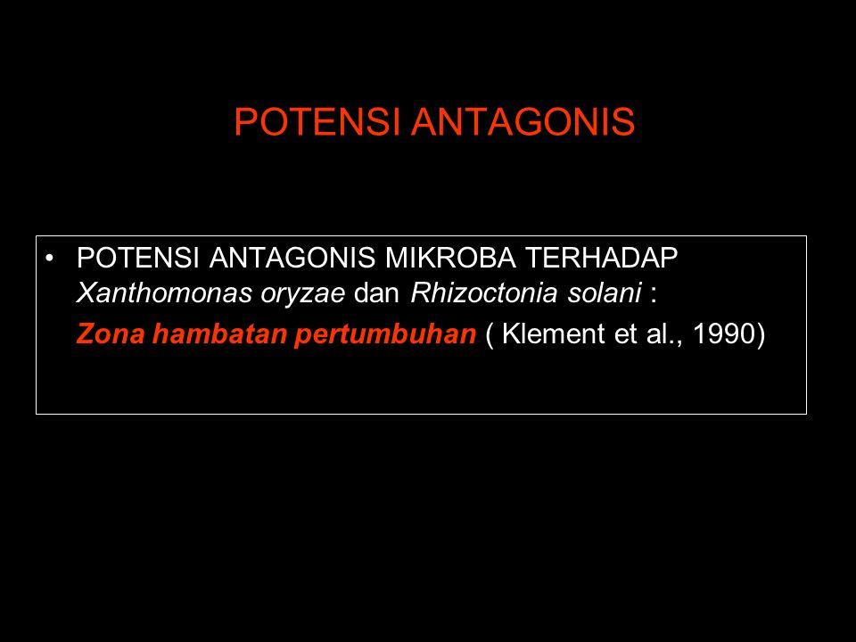 POTENSI ANTAGONIS POTENSI ANTAGONIS MIKROBA TERHADAP Xanthomonas oryzae dan Rhizoctonia solani : Zona hambatan pertumbuhan ( Klement et al., 1990)