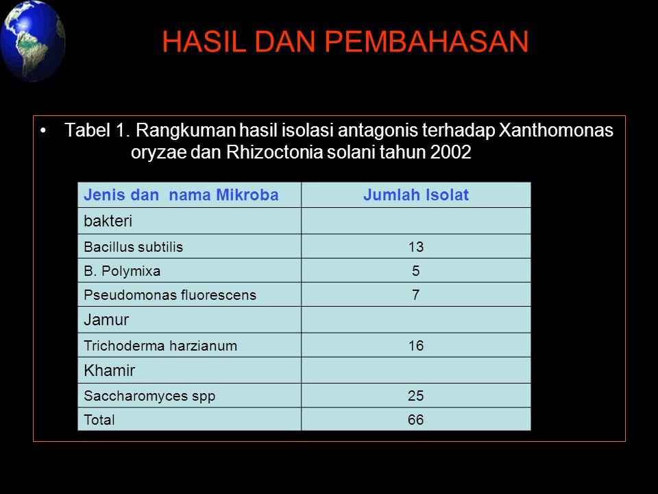 HASIL DAN PEMBAHASAN Tabel 1. Rangkuman hasil isolasi antagonis terhadap Xanthomonas oryzae dan Rhizoctonia solani tahun 2002 Jenis dan nama MikrobaJu