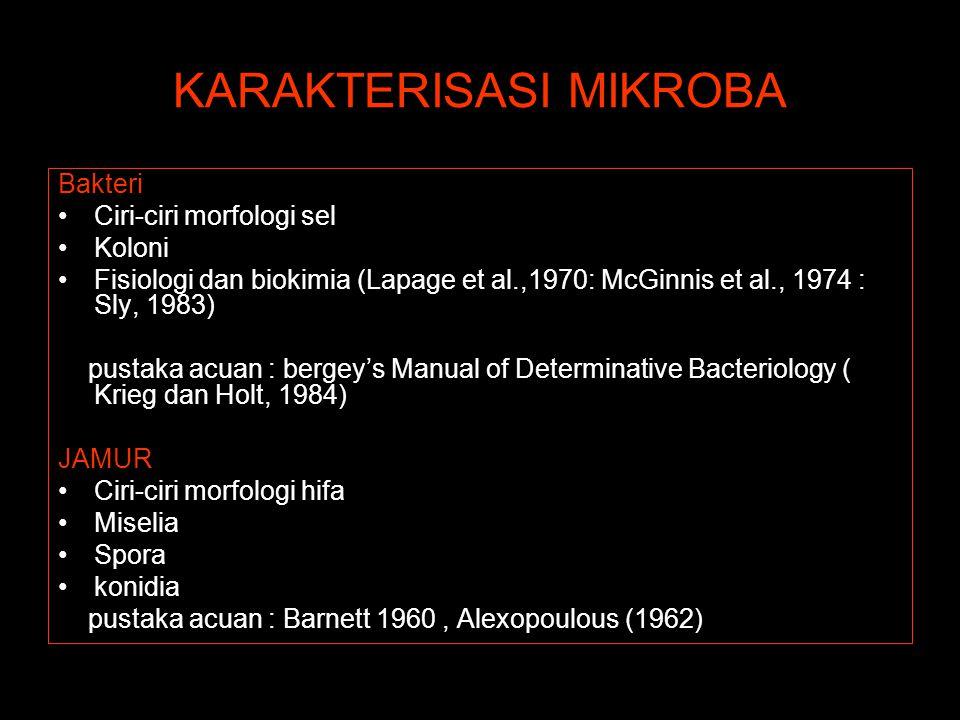 KARAKTERISASI MIKROBA Bakteri Ciri-ciri morfologi sel Koloni Fisiologi dan biokimia (Lapage et al.,1970: McGinnis et al., 1974 : Sly, 1983) pustaka ac