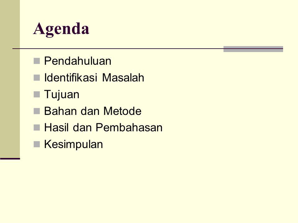 Agenda Pendahuluan Identifikasi Masalah Tujuan Bahan dan Metode Hasil dan Pembahasan Kesimpulan
