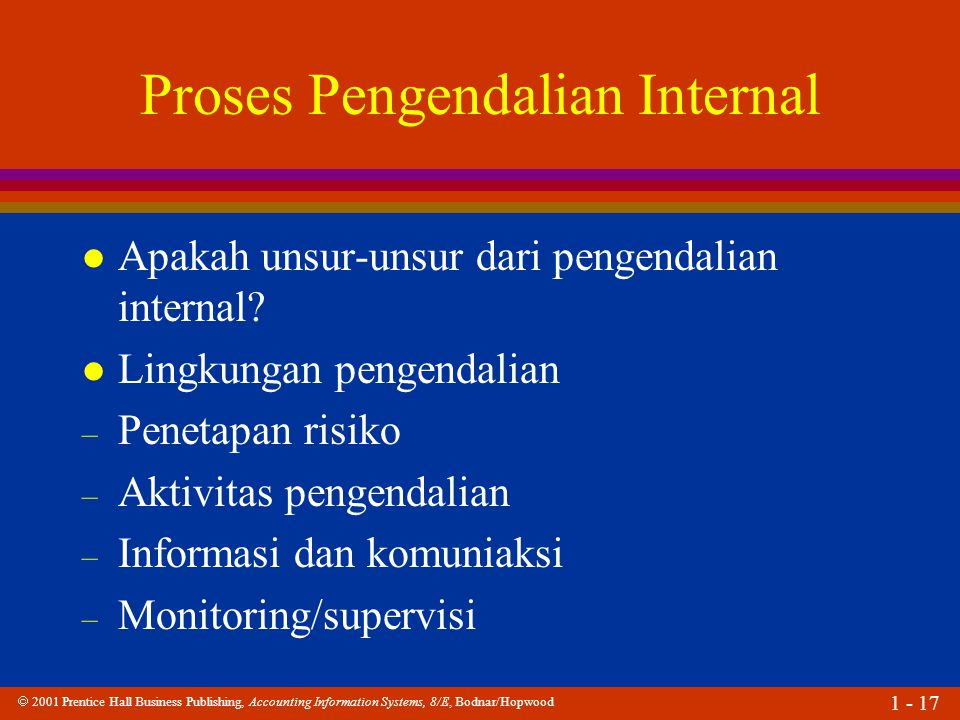  2001 Prentice Hall Business Publishing, Accounting Information Systems, 8/E, Bodnar/Hopwood 1 - 17 Proses Pengendalian Internal l Apakah unsur-unsur dari pengendalian internal.