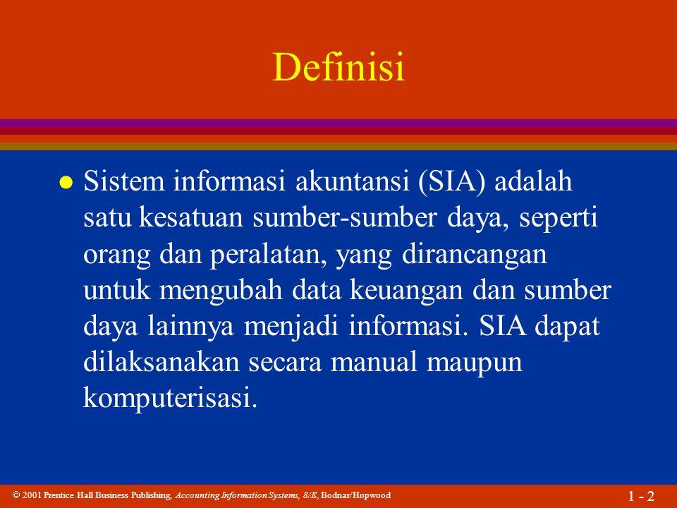  2001 Prentice Hall Business Publishing, Accounting Information Systems, 8/E, Bodnar/Hopwood 1 - 2 Definisi l Sistem informasi akuntansi (SIA) adalah