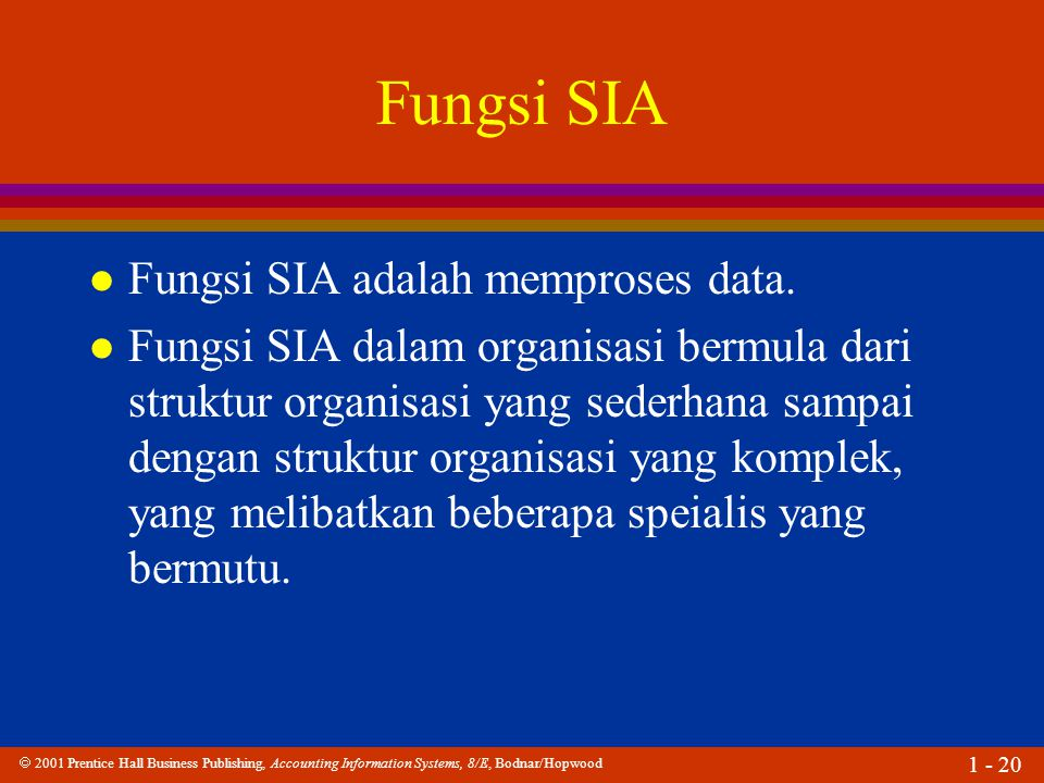 2001 Prentice Hall Business Publishing, Accounting Information Systems, 8/E, Bodnar/Hopwood 1 - 20 Fungsi SIA l Fungsi SIA adalah memproses data.