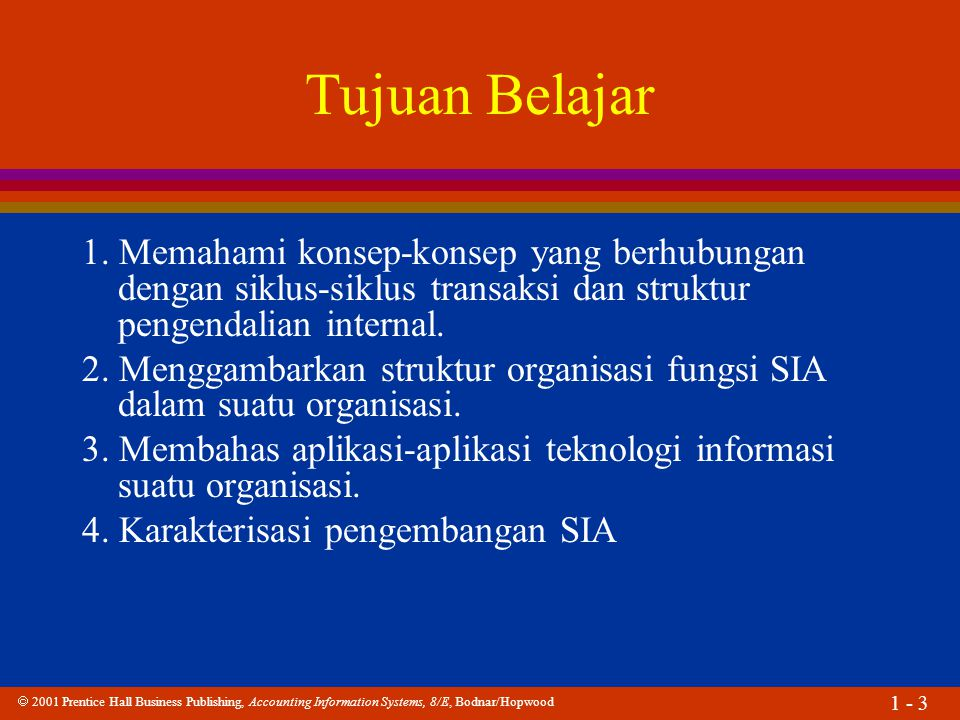  2001 Prentice Hall Business Publishing, Accounting Information Systems, 8/E, Bodnar/Hopwood 1 - 3 Tujuan Belajar 1.