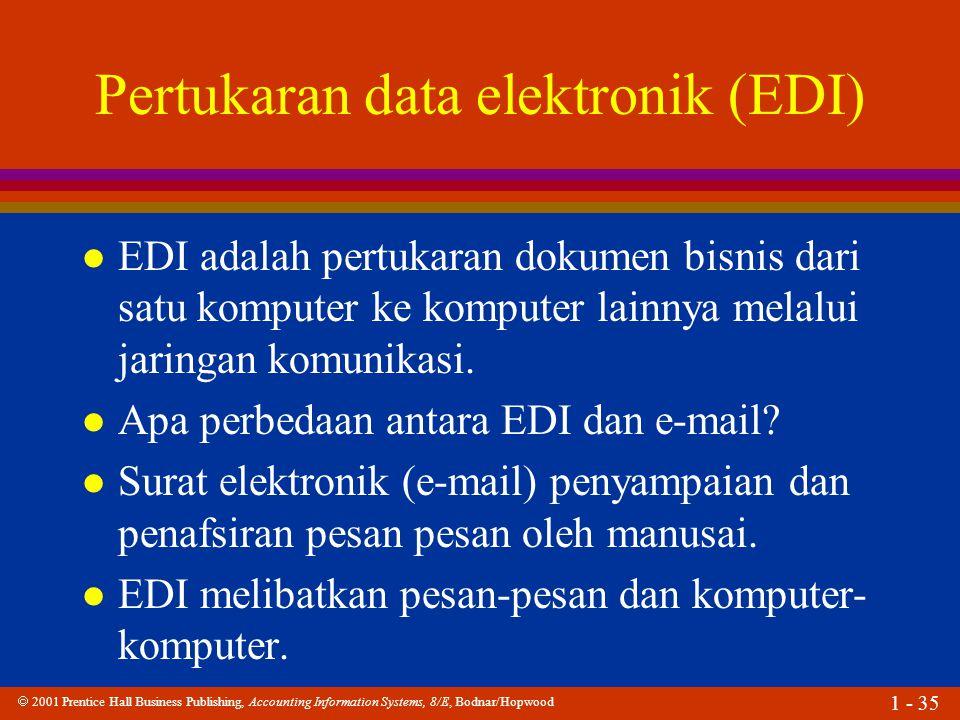 2001 Prentice Hall Business Publishing, Accounting Information Systems, 8/E, Bodnar/Hopwood 1 - 35 Pertukaran data elektronik (EDI) l EDI adalah per