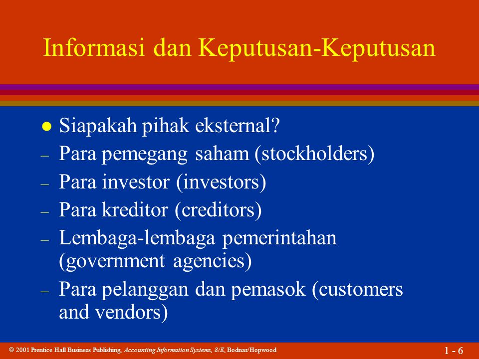  2001 Prentice Hall Business Publishing, Accounting Information Systems, 8/E, Bodnar/Hopwood 1 - 47 Pendekatan SIA l Apakah pendekatan SIA.