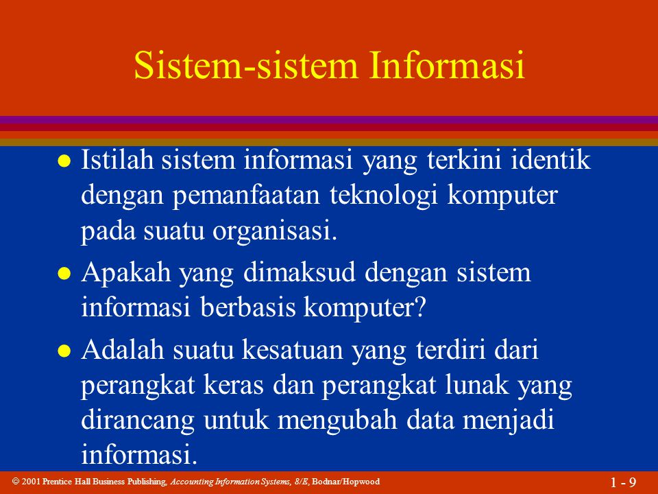  2001 Prentice Hall Business Publishing, Accounting Information Systems, 8/E, Bodnar/Hopwood 1 - 10 Sistem-sistem Informasi Sistem pengelolaan data elektronik (PDE) Sistem Pemrosesan data (PD) Sistem informasi manajemen (SIM) Sistem penunjang keputusan (SPK) Sistem pakar (SP) Sistem informasi eksekutif (SIE) Sistem informasi akuntansi (SIA)