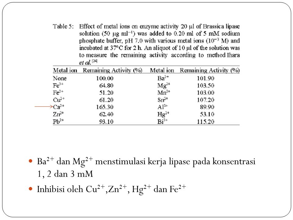 Ba 2+ dan Mg 2+ menstimulasi kerja lipase pada konsentrasi 1, 2 dan 3 mM Inhibisi oleh Cu 2+,Zn 2+, Hg 2+ dan Fe 2+