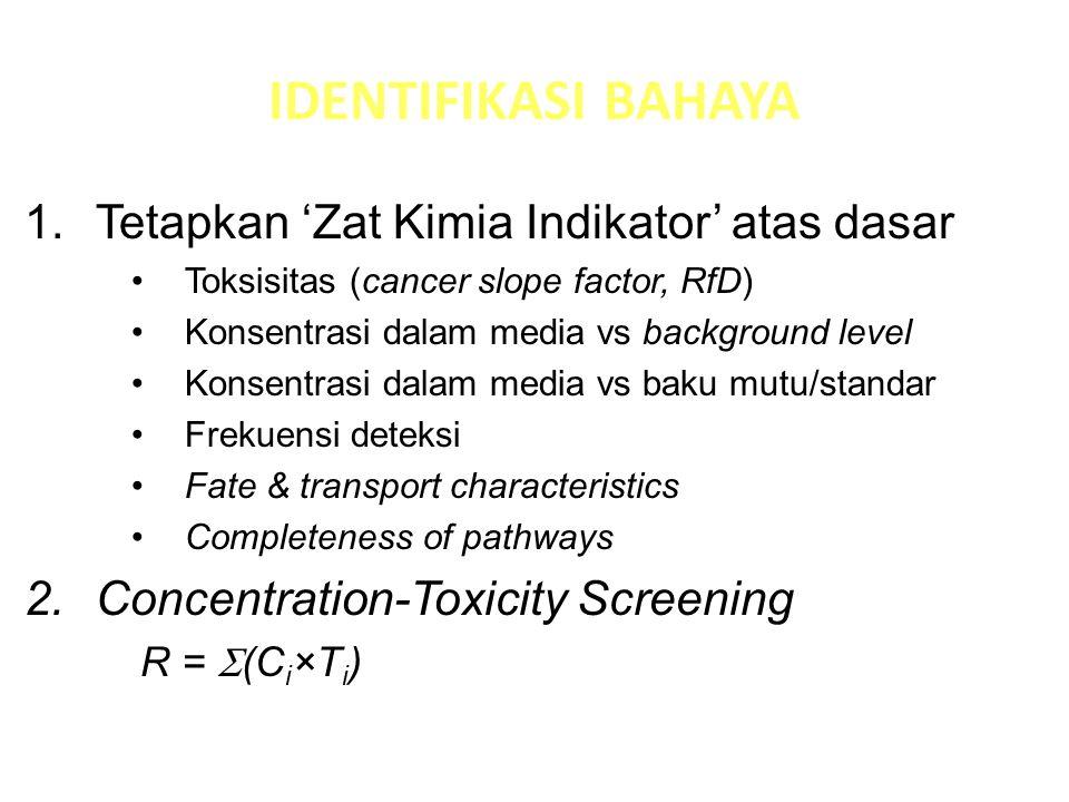 DUA EFEK ZAT TOKSIK NONKARSINOGENIK Berambang (threshold) Ada dosis di atas nol yang tidak berefek sampai dosis tertentu tercapai Risiko dinyatakan sebagai NONCANCER HAZARD berupa Hazard Qoutient & Hazard Index berdasarkan Intake dan Reference Dose KARSINOGENIK Tidak Berambang (nonthreshold) Selalu ada efek pada setiap dosis di atas nol Risiko dinyatakan sebagai CANCER RISK: 1.Slope Factor (risk per doses) 2.Unit Risk (risk per media concentrations) 3.Cancer Risk