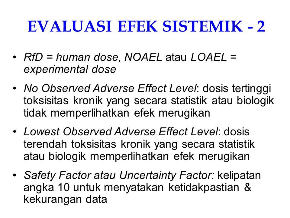 EVALUASI EFEK NONKANKER (EFEK SISTEMIK) - 1 Efek sistemik = semua endpoint zat toksik selain kanker dan mutasi gen Efek sistemik dievaluasi menggunakan RfD (reference dose) sebagai ukuran RfD (US-EPA) ≈ Acceptable Daily Intake (WHO): jumlah zat kimia yang memajani manusia setiap hari dalam waktu lama (umumnya lifetime) yang tidak menimbulkan efek merugikan ADI = NOAEL/SF atau LOAEL/SF RfD = NOAEL/(UF x MF) atau LOAEL/(UF x MF)