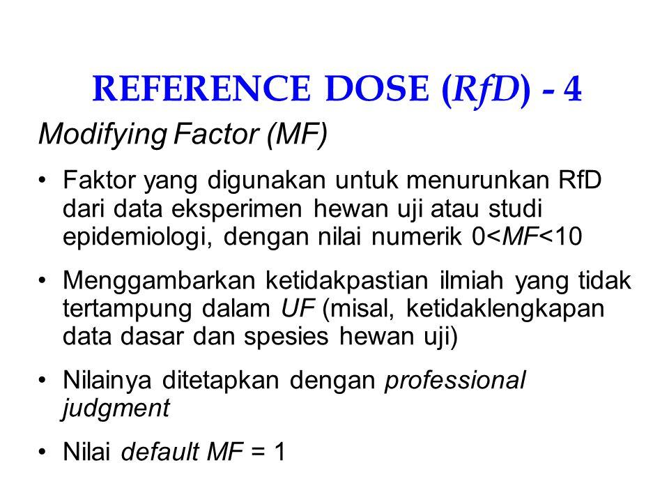 REFERENCE DOSE ( RfD ) - 3 Uncertainty Factor (UF) Faktor-faktor kelipatan 10 untuk menurunkan RfD dari data eksperimen hewan uji atau studi epidemiologi Digunakan untuk menampung ketidakpastian (uncertainty): UF 1 = 10 untuk variasi sensitivitas manusia; UF 2 = 10 untuk ekstrapolasi hewan ke manusia UF 3 = 10 untuk NOAEL uji subkronik (bukan kronik) UF 4 = 10 bila digunakan LOAEL (bukan NOAEL )