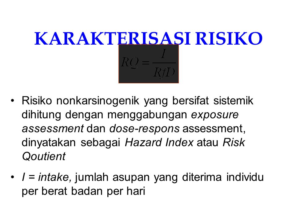 Hazard Identification – Toxicity Score ChemicalsRfD ( mg/kg-day) Soil (mg/kg)TS = Cmax/RfD Rank MeanCmax Chlorobenzene2.00E-021.39E+006.40E+003203 Chloroform1.00E-021.12E+004.10E+004102 1,2-DichloroethaneNAND NA BEHP2.00E-021.03E+022.30E+0211,5001 ND – Not Detected; NA-Not Applicable BEHP poses the greatest risk for the given site followed by chloroform and Chlorobenzene.