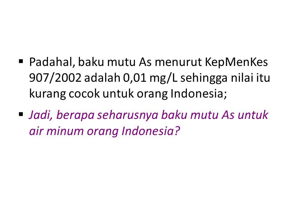  Padahal, baku mutu As menurut KepMenKes 907/2002 adalah 0,01 mg/L sehingga nilai itu kurang cocok untuk orang Indonesia;  Jadi, berapa seharusnya b