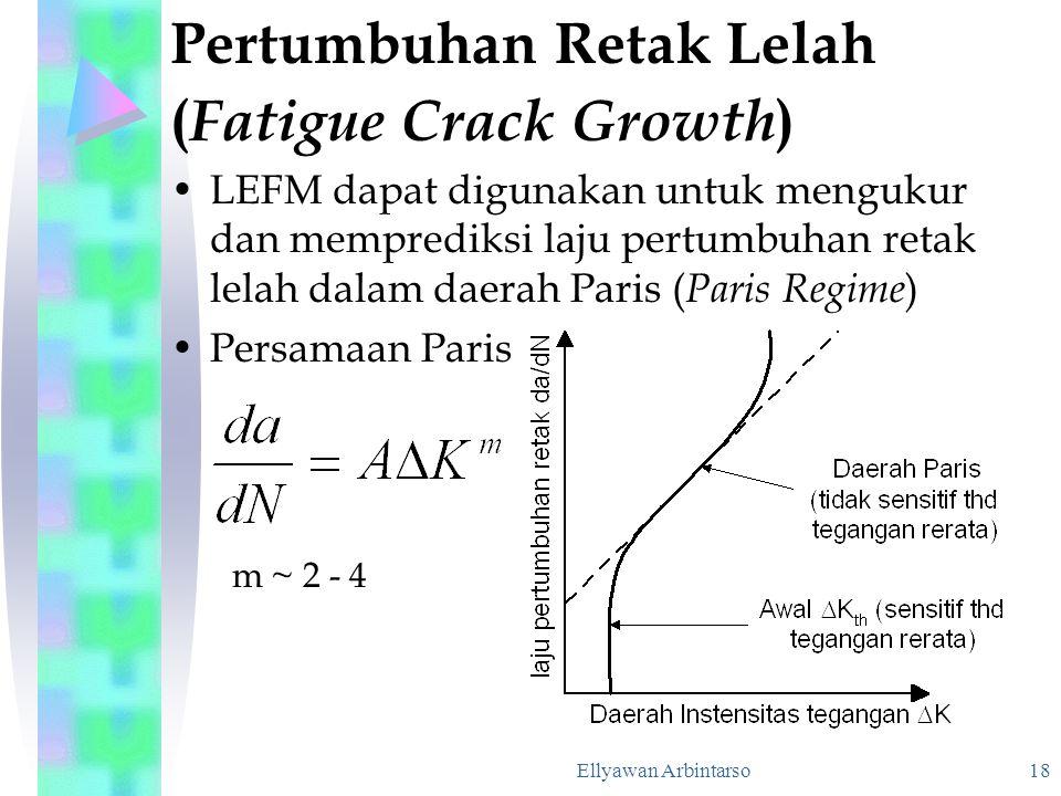 Ellyawan Arbintarso 18 Pertumbuhan Retak Lelah ( Fatigue Crack Growth ) LEFM dapat digunakan untuk mengukur dan memprediksi laju pertumbuhan retak lel