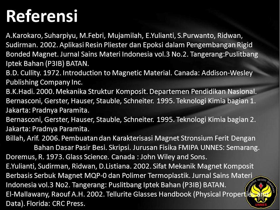 Referensi A.Karokaro, Suharpiyu, M.Febri, Mujamilah, E.Yulianti, S.Purwanto, Ridwan, Sudirman. 2002. Aplikasi Resin Pliester dan Epoksi dalam Pengemba